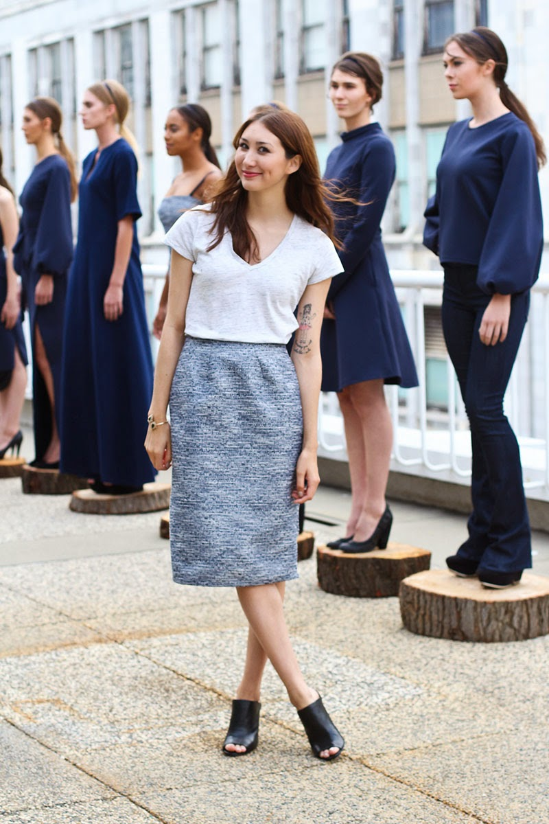 alyssa nicole, designer, fall 2014, fashion week, san francisco, couture, gap tshirt, pencil skirt, metallic pencil skirt, San Francisco style, Saks Fifth Avenue Mules, Saks Fifth Avenue heels, Saks Fifth Avenue Bracelet, Navy Dress, Flared Jeans, Kimono gown,