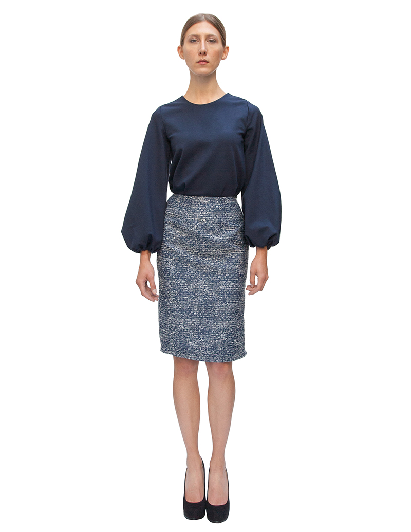 pencil skirt, navy skirt, couture, alyssa nicole, alyssa nicole fall 2014, navy blouse, bell skeeve blouse, midi skirt, san francisco fashion, sf style