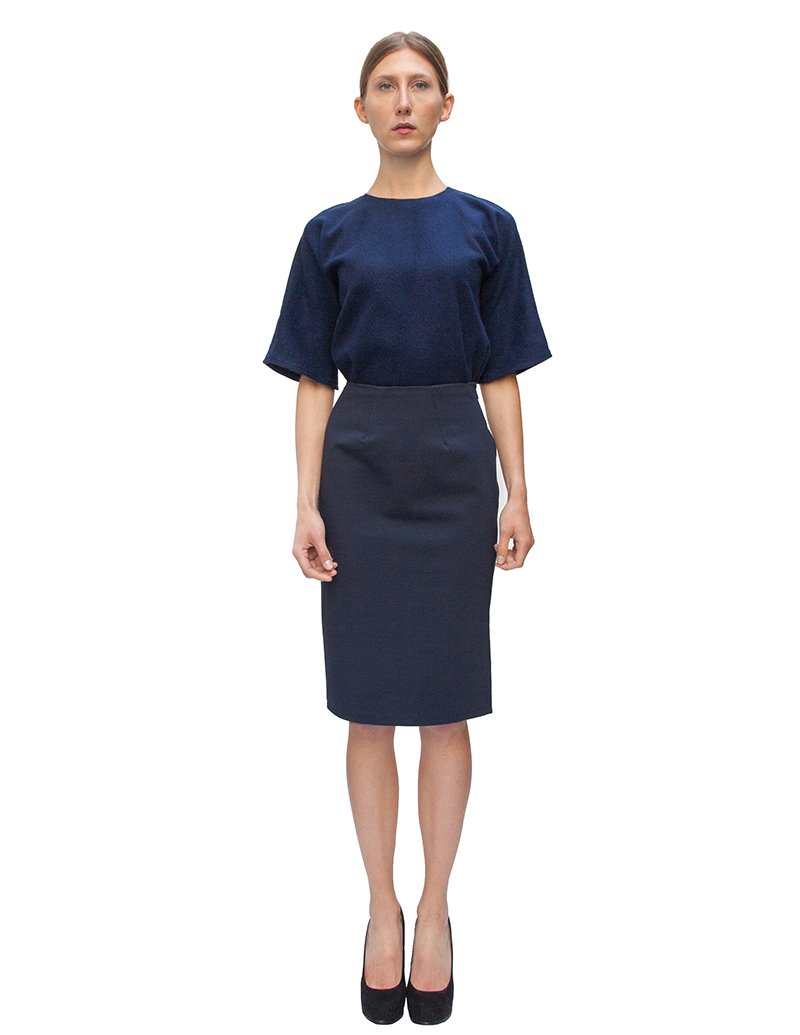 pencil skirt, navy skirt, couture, alyssa nicole, alyssa nicole fall 2014, kimono blouse, wool blouse, midi skirt, san francisco fashion, sf style