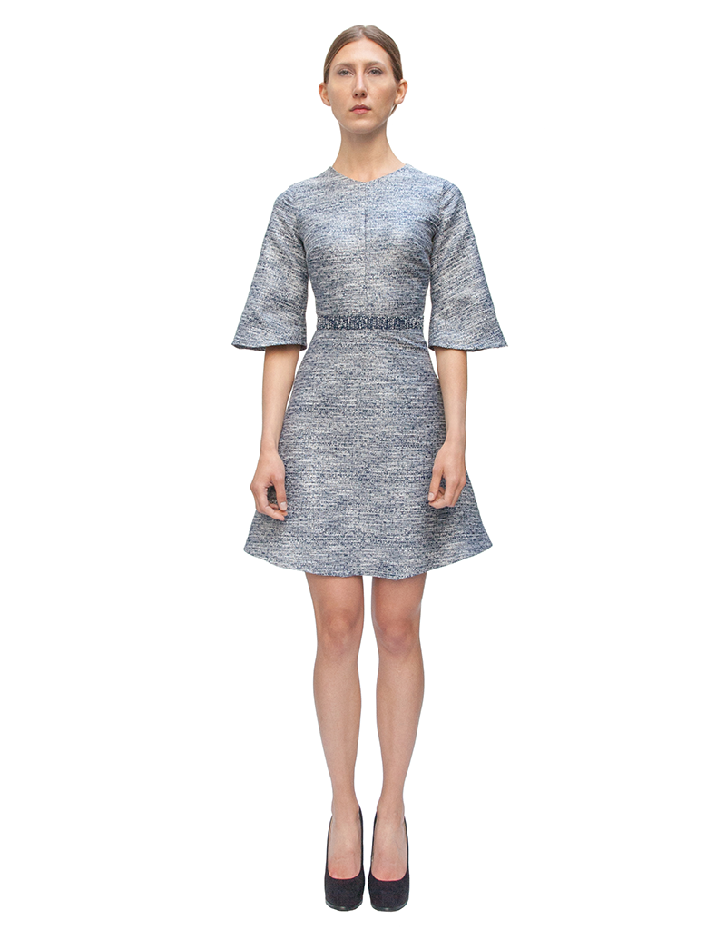 aline dress, navy dress, couture, alyssa nicole, alyssa nicole fall 2014, cocktail dress, metallic cocktail dress, bell sleeves, san francisco fashion, sf style