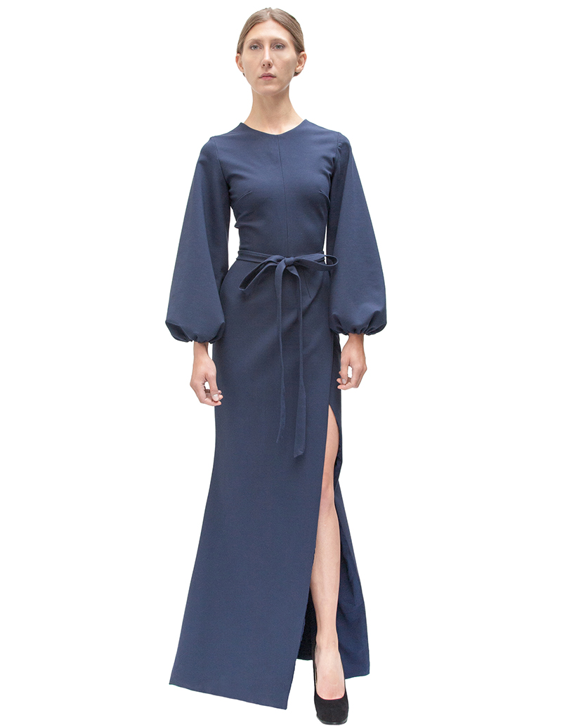 navy gown, bell sleeve maxi dress, couture, alyssa nicole, alyssa nicole fall 2014, jersey gown, jersey maxi dress, maxi dress, san francisco fashion, sf style