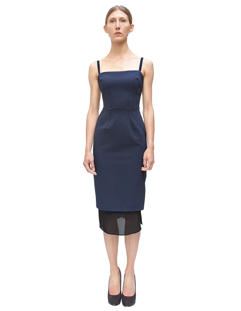 pencil dress, navy dress, couture, alyssa nicole, alyssa nicole fall 2014, cocktail dress, blue velvet, midi skirt, san francisco fashion, sf style