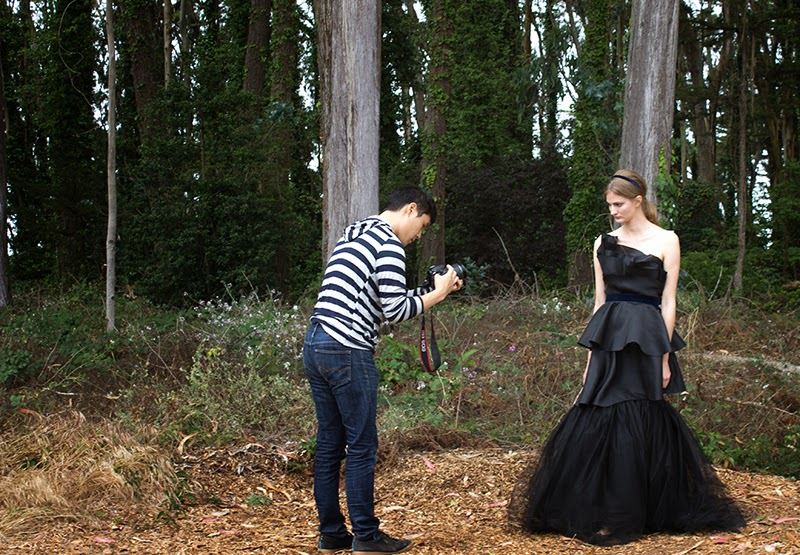 alyssa nicole, behind the scenes, couture, fashion film, photo shoot, styling, alyssa nicole fall 2014, metallic coat, black evening gown, black wedding dress, wool kimono, kimono gown, blue kimono, bell sleeve dress, metallic dress, aline dress,