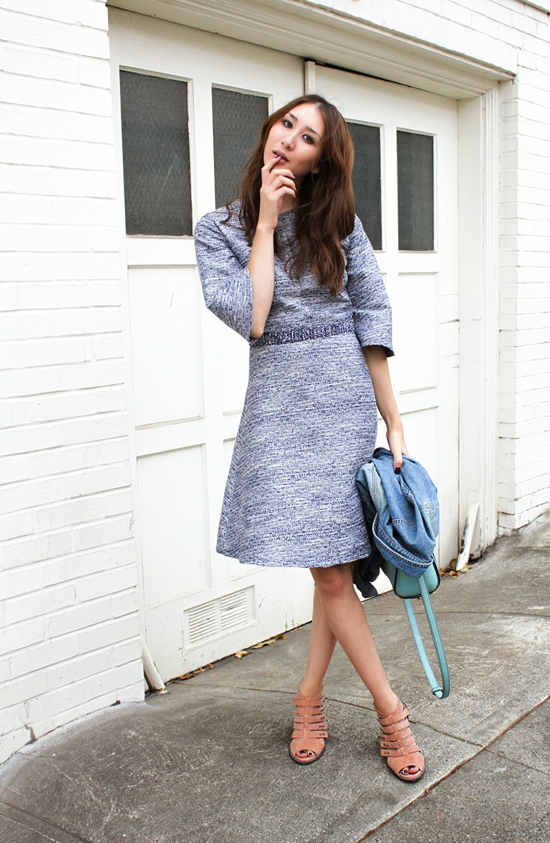 How to wear metallic dress, Alyssa Nicole, Designer, Couture, Bell Sleeve Dress, Metallic dress, Cocktail Dress, Blue Metallic Dress, Blue Cocktail Dress, Blue Bell Sleeve Dress, Party Dress, san francsico, San Francisco Style, Street Style, Freda Salvador, Kate Spade Purse, Calvin Klein, Denim Jacket