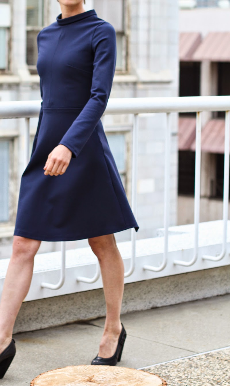 aline dress, navy dress, couture, alyssa nicole, alyssa nicole fall 2014, turtle neck dress, long sleeve blue dress, aline skirt, san francisco fashion, sf style