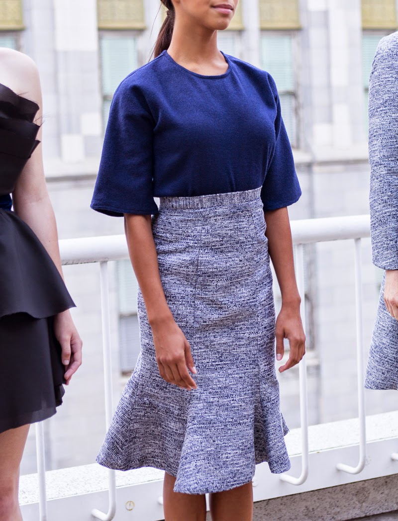 alyssa nicole, couture, alyssa nicole fall 2014, rooftop runway, fashion show, fashion week, metallic skirt, demi couture, ladylike, navy, metallic mermaid skirt, mermaid flare, mermaid flare skirt, wool kimono, wool blouse,