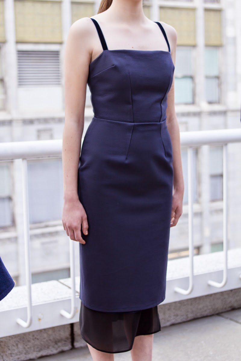 alyssa nicole, couture, alyssa nicole fall 2014, rooftop runway, fashion show, fashion week, navy skirt, demi couture, ladylike, navy, pencil skirt, fitted skirt, blue velvet, navy pencil dress