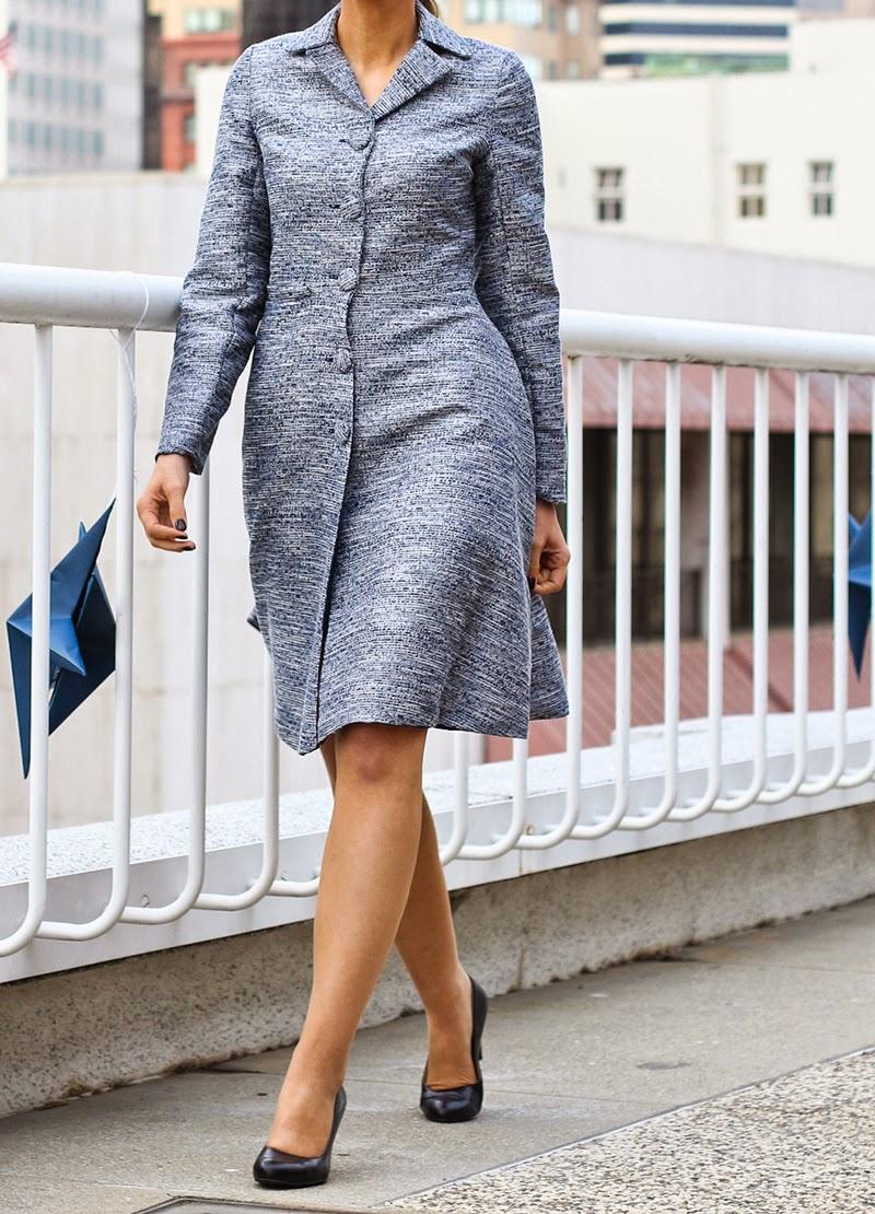 coat,  navy coat, couture, alyssa nicole, alyssa nicole fall 2014, metallic coat, flared coat, cocktail coat, san francisco fashion, sf style