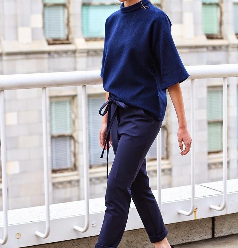 trousers, navy trousers, cigarette trousers, couture, alyssa nicole, alyssa nicole fall 2014, kimono blouse, wool blouse, turtle neck blouse, san francisco fashion, sf style