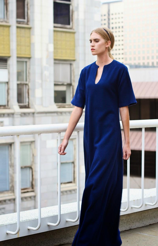 navy gown, navy maxi dress, couture, alyssa nicole, alyssa nicole fall 2014, kimono gown, wool kimono dress, maxi dress, san francisco fashion, sf style
