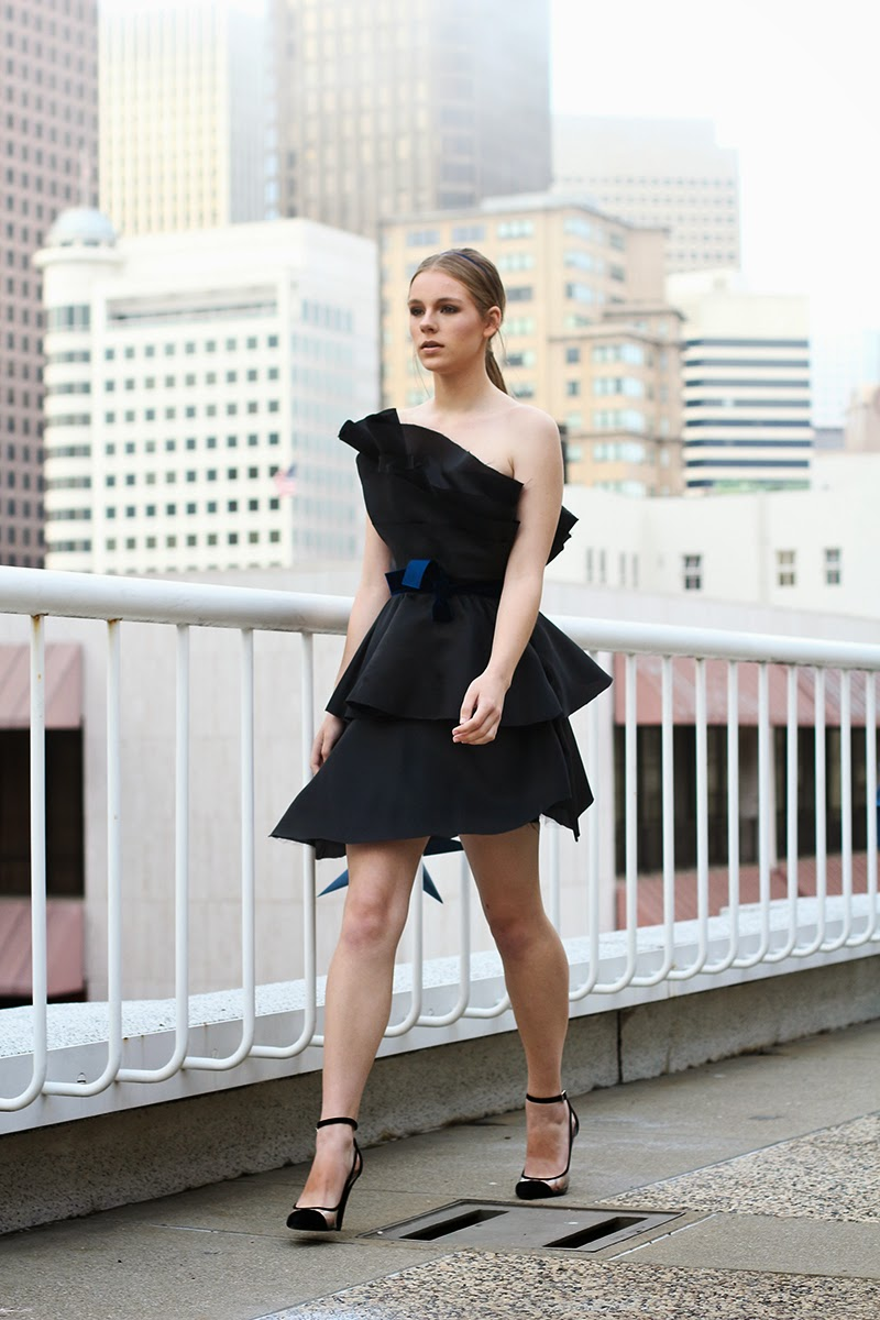 little black dress, blue velvet, couture, alyssa nicole, alyssa nicole fall 2014, cocktail dress, party dress, tiered dress, san francisco fashion, sf style