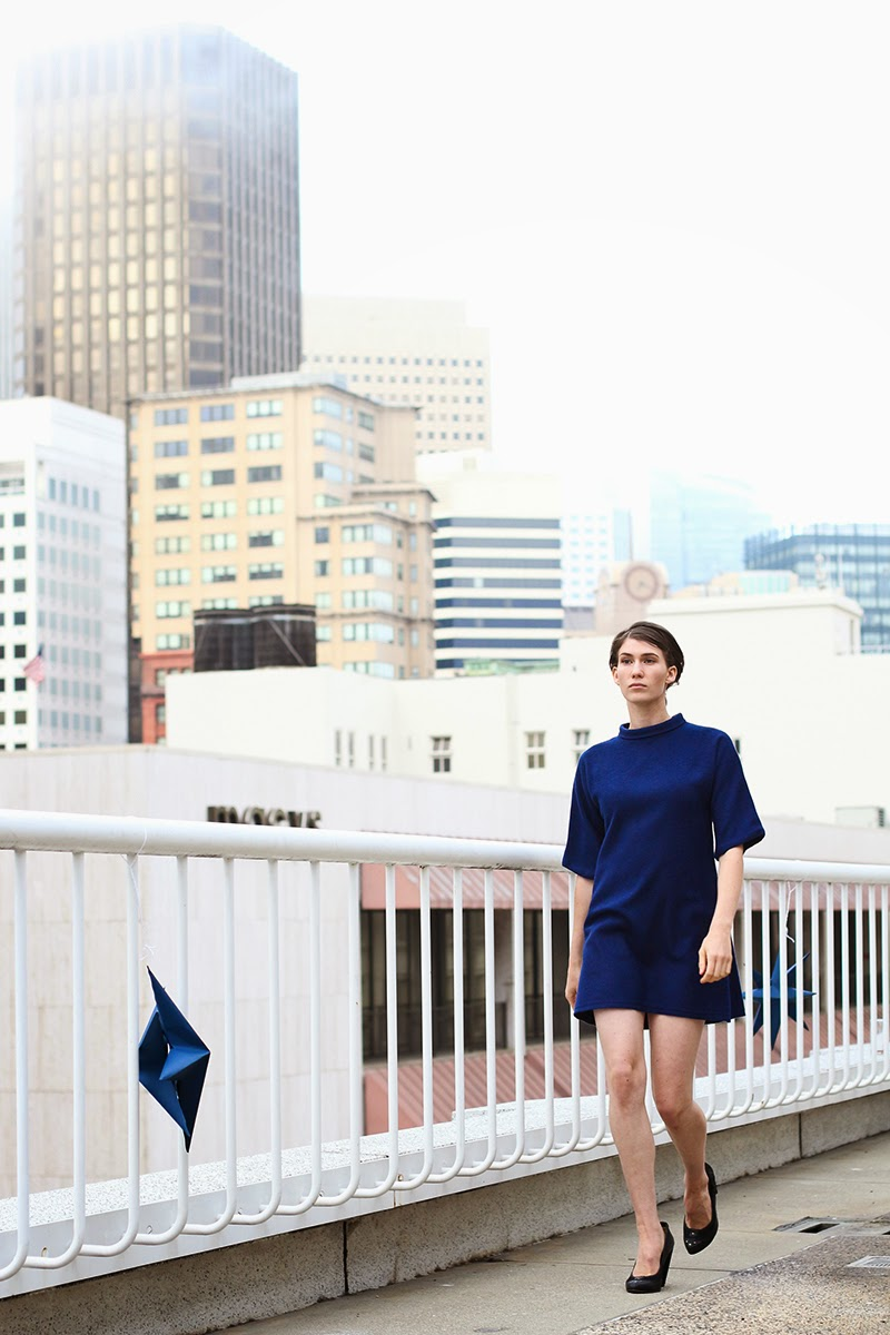 wool dress, navy dress, couture, alyssa nicole, alyssa nicole fall 2014, turtle neck dress, kimono dress, mini dress, san francisco fashion, sf style