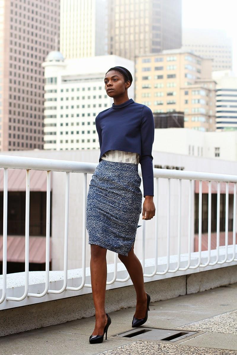 pencil skirt, navy skirt, couture, alyssa nicole, alyssa nicole fall 2014, kimono blouse, wool blouse, midi skirt, san francisco fashion, sf style