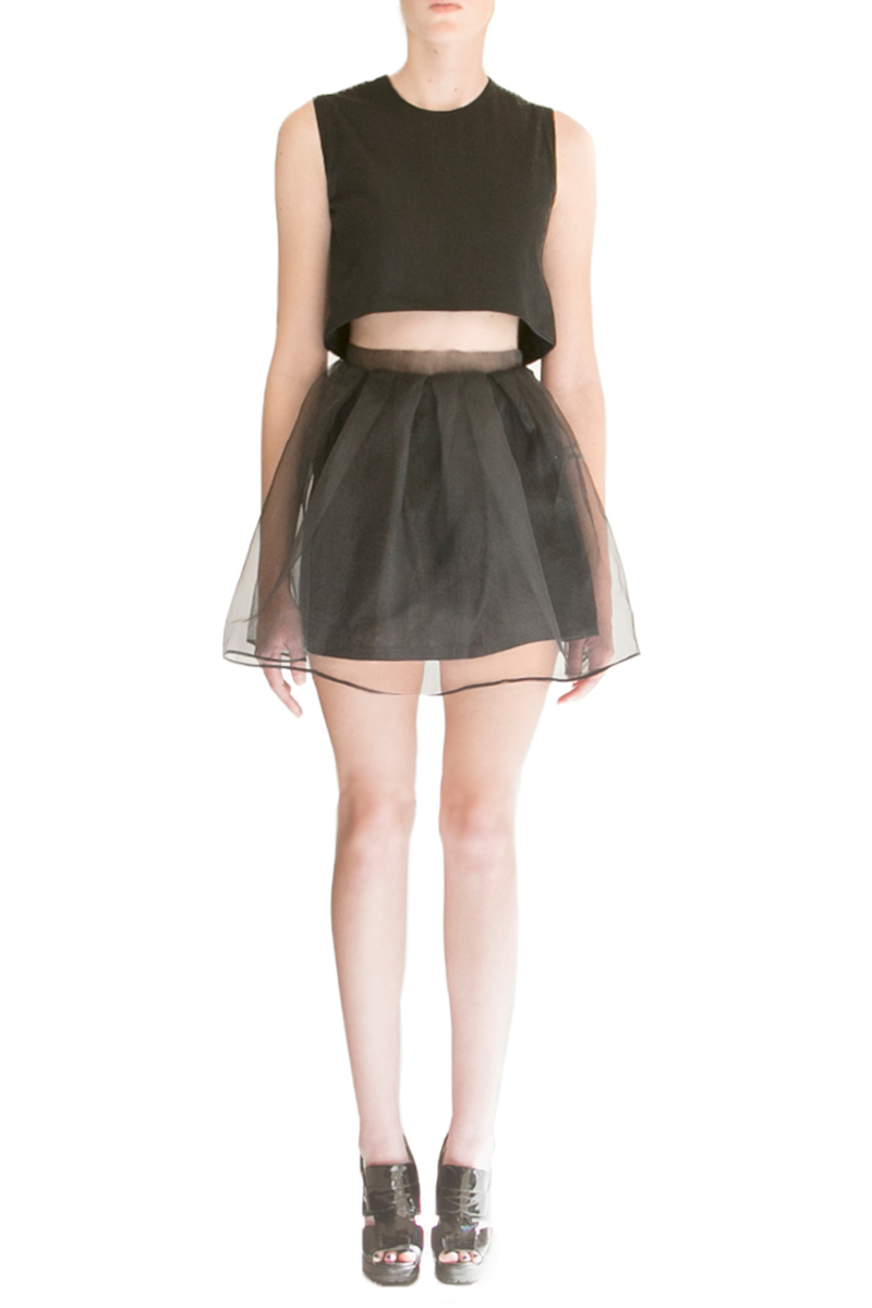 alyssa nicole, alyssa nicole signature collection, little black dress, couture, san francisco style, lookbook, pleated skirt, crop top, black pleated skirt, organza skirt, alyssa nicole skirt,