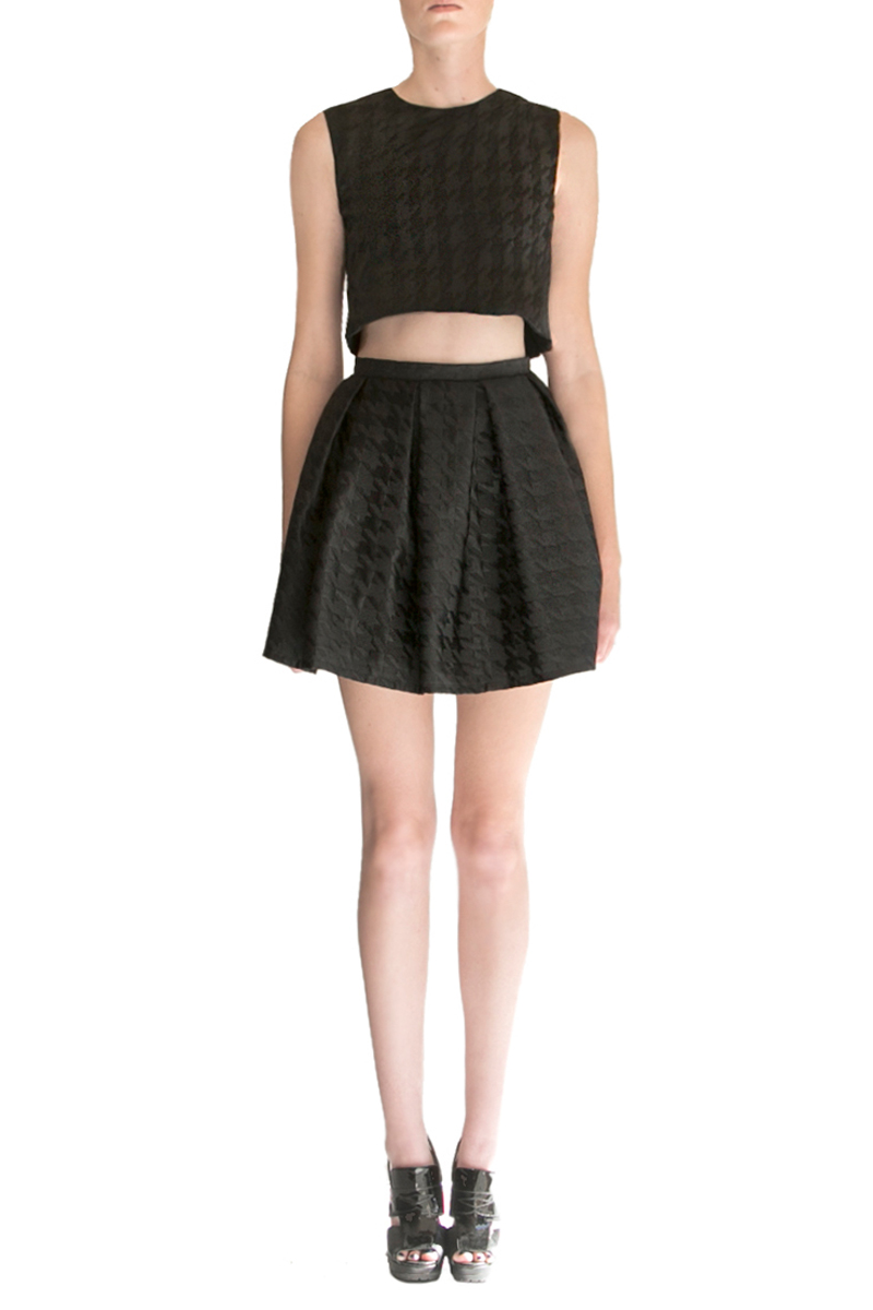 alyssa nicole, alyssa nicole signature collection, little black dress, couture, san francisco style, lookbook, pleated skirt, crop top, black pleated skirt, houndstooth skirt, alyssa nicole skirt, houndstooth print