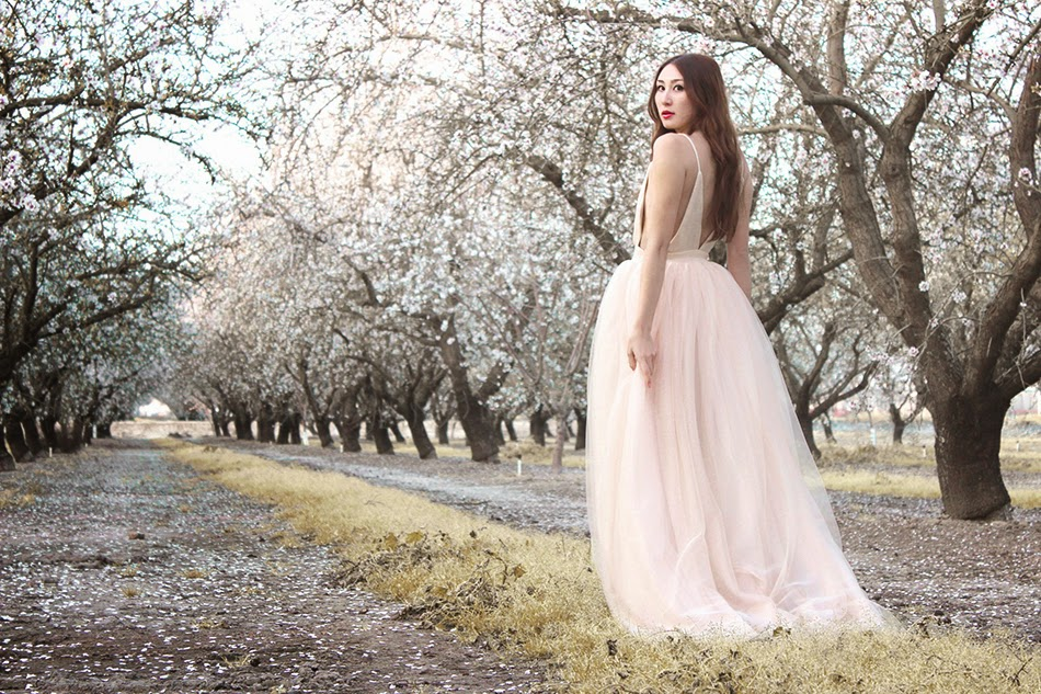 Alyssa Nicole Blush Tulle Gown, Soft natural waves, and red lips Lancome beauty