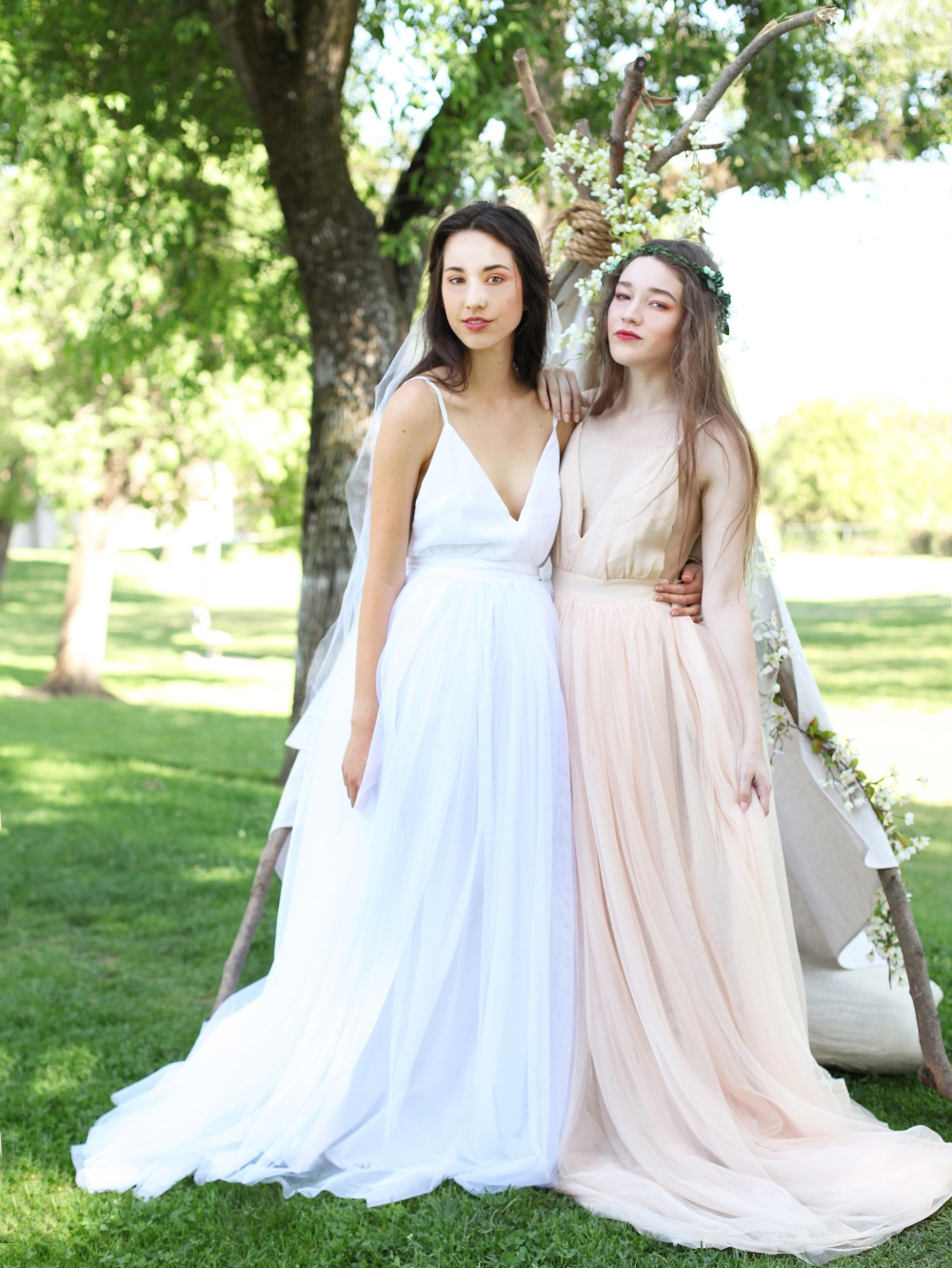 Alyssa Nicole Tulle Bridal Gown, Blush Tulle Gown, Spellbound Floral Crowns