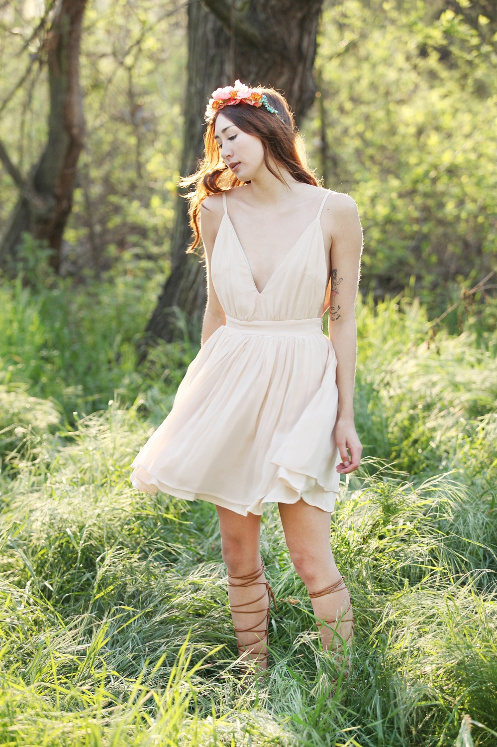 Dream Weaver in Alyssa Nicole Silk Vneck Dress, Pink Floral Crown, Lace up Gladiator Sandals