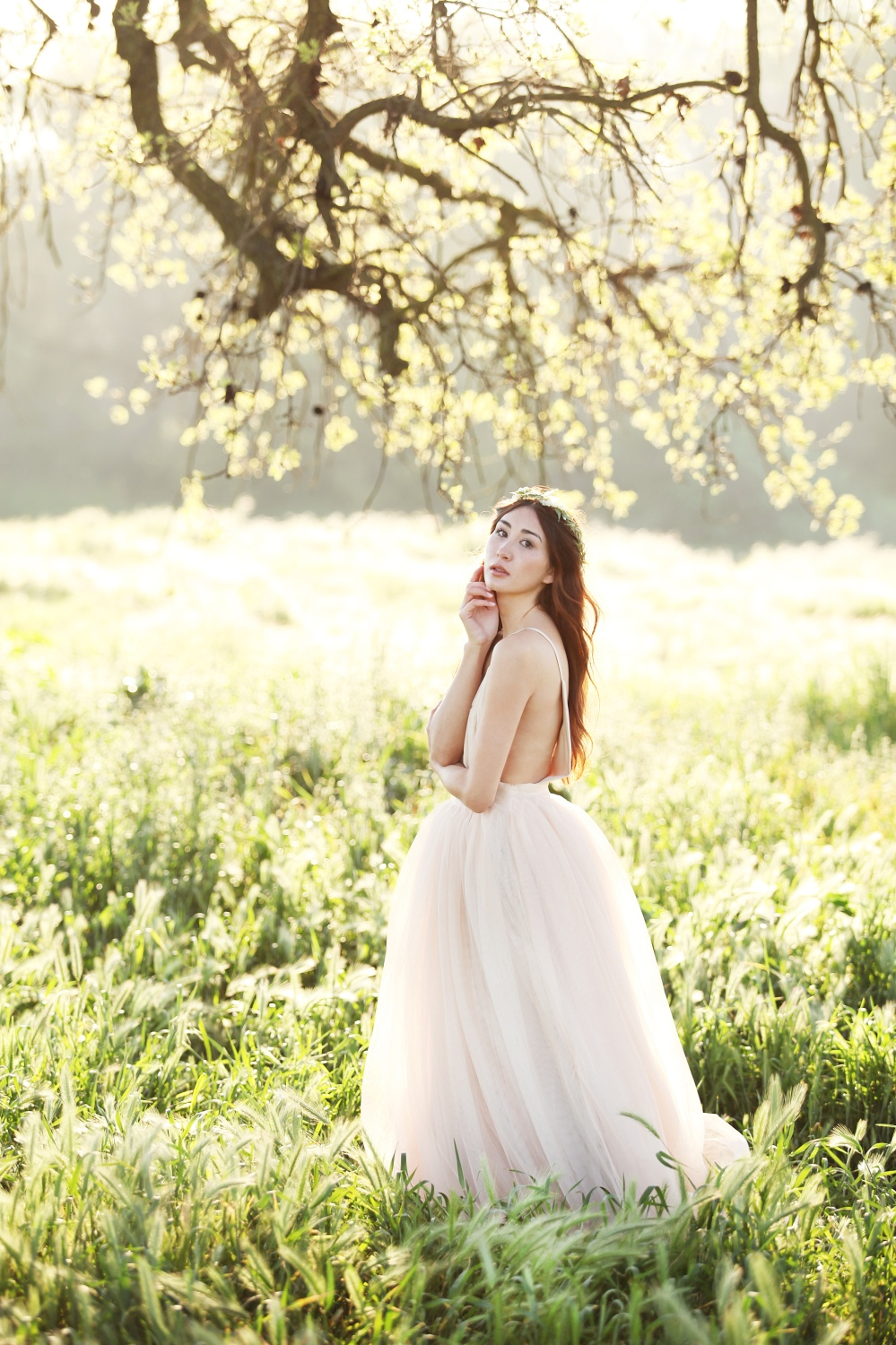 Flight of Fancy: Bohemian Bride Style in Alyssa Nicole Blush Tulle Gown and Floral Crown