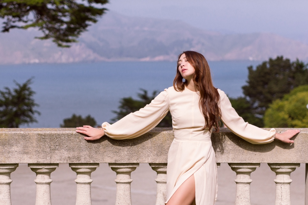 Sunbather Alyssa Nicole San Francisco Style Blush Bell Sleeve Dress