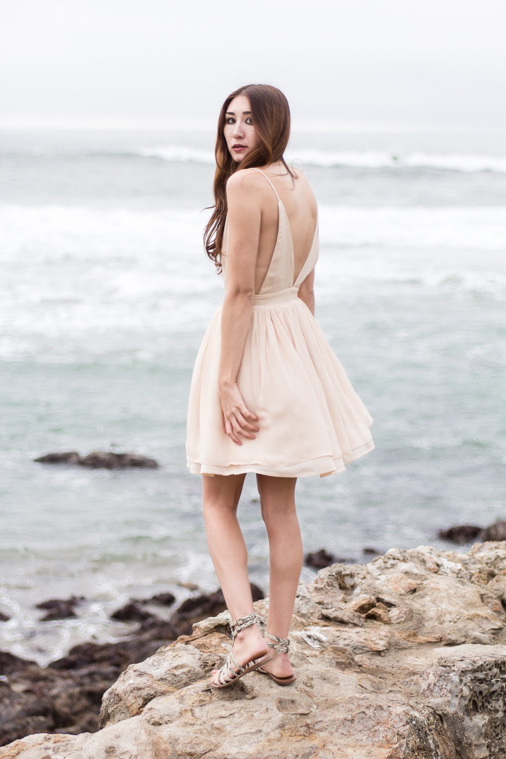 Across the Sea Alyssa Nicole Silk Vneck Dress at  Sutro Baths Ruins San Francisco