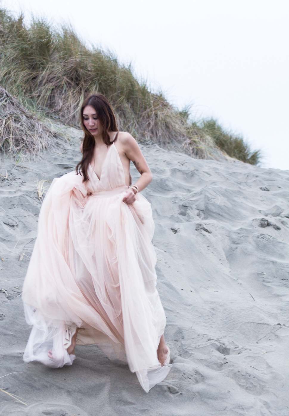 Against the Tide Alyssa Nicole Blush Tulle Gown Ocean Beach