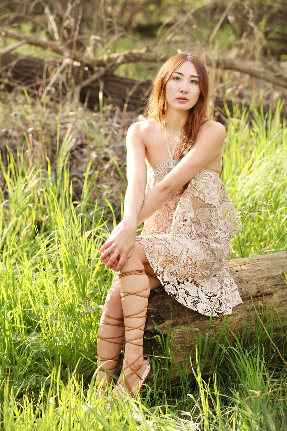 Alyssa Nicole Lace Halter Dress and Lace Up Gladiator Sandals