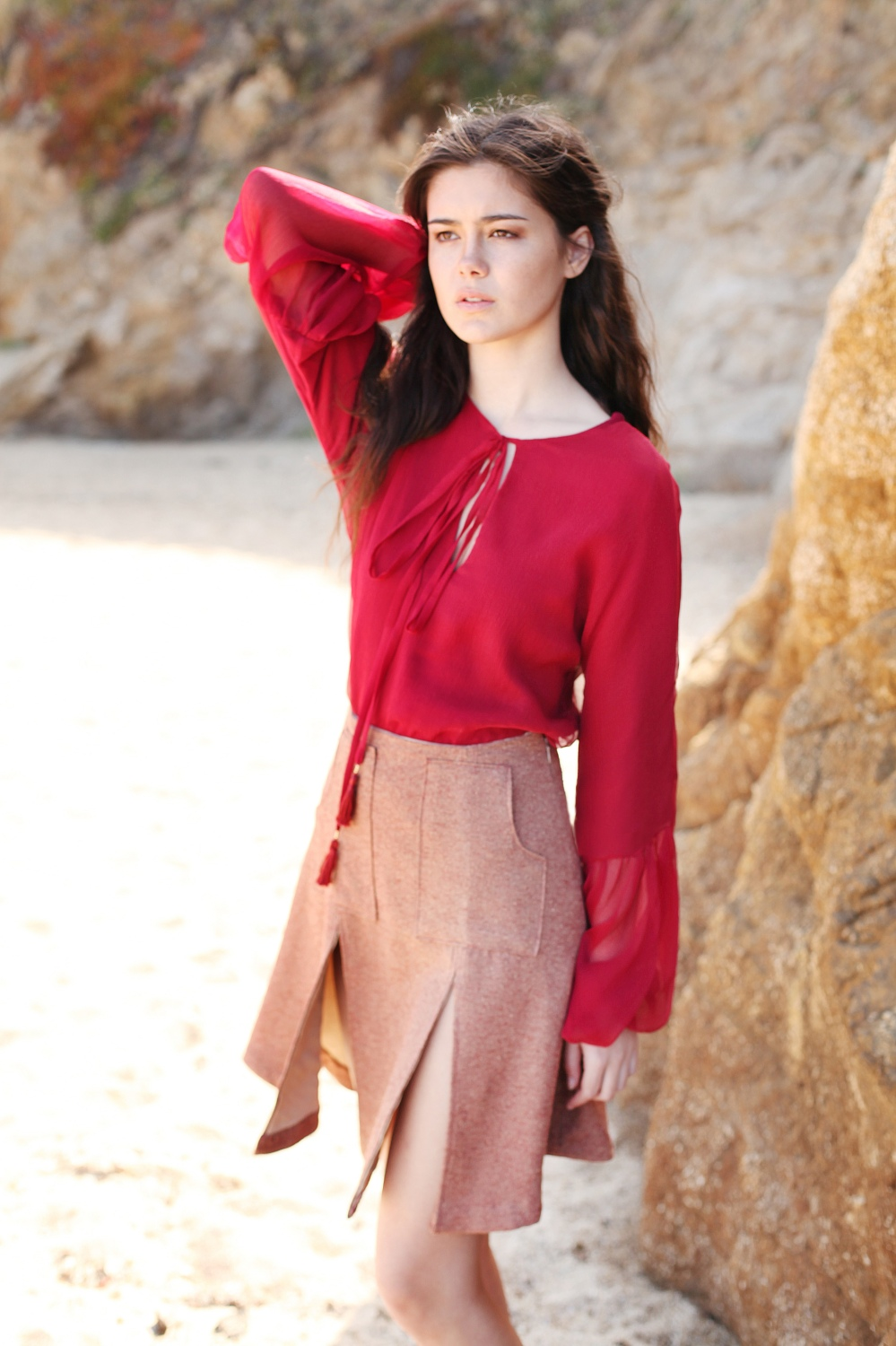 Alyssa Nicole FW15 Red Bell Sleeve Blouse and Aline Skirt