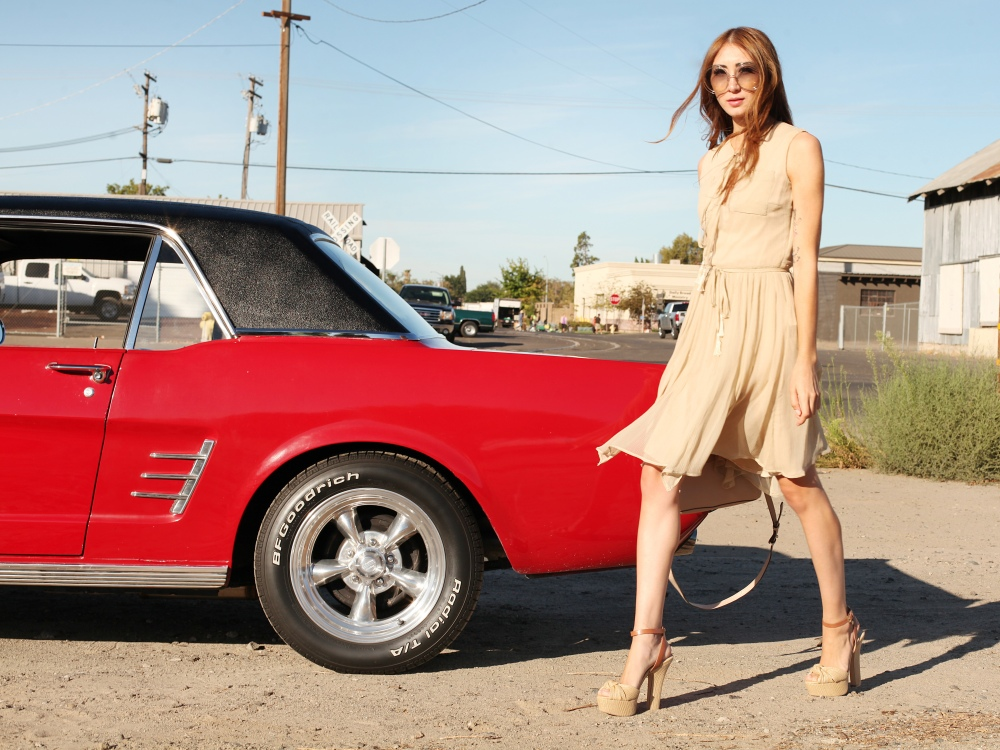 Shift Into Neutral Alyssa Nicole Silk Bowtie Dress, Chloe Carlina Sunglasses, Michael Kors Heels