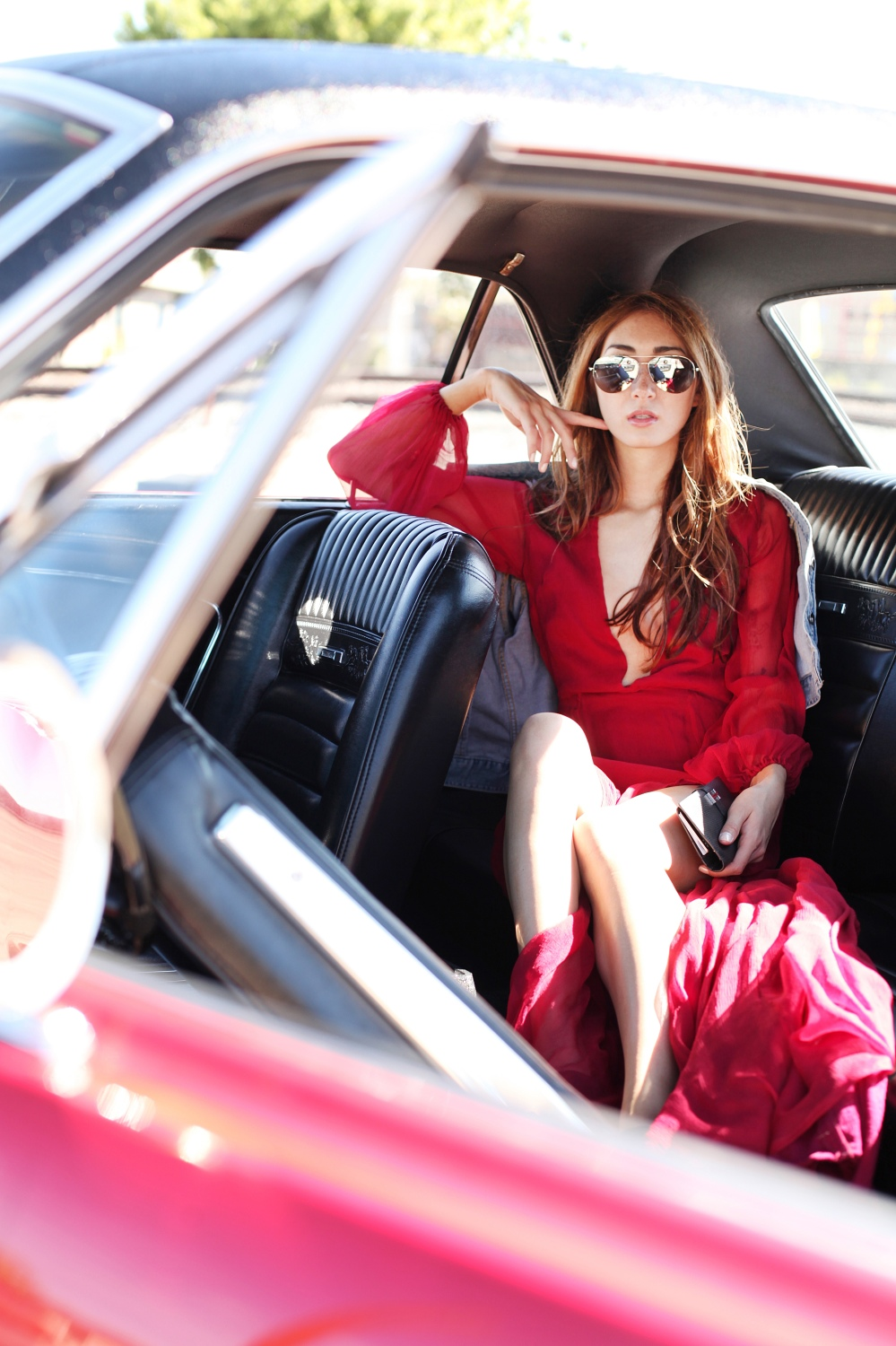 Fast and Furious in Alyssa Nicole Red Gown, Hermès Clutch, Michael Kors Aviator Sunglasses