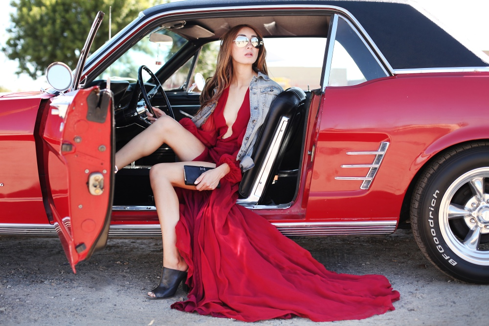 Fast and Furious in Alyssa Nicole Red Gown, Hermès Clutch, Michael Kors Aviator Sunglasses and Leather Mules