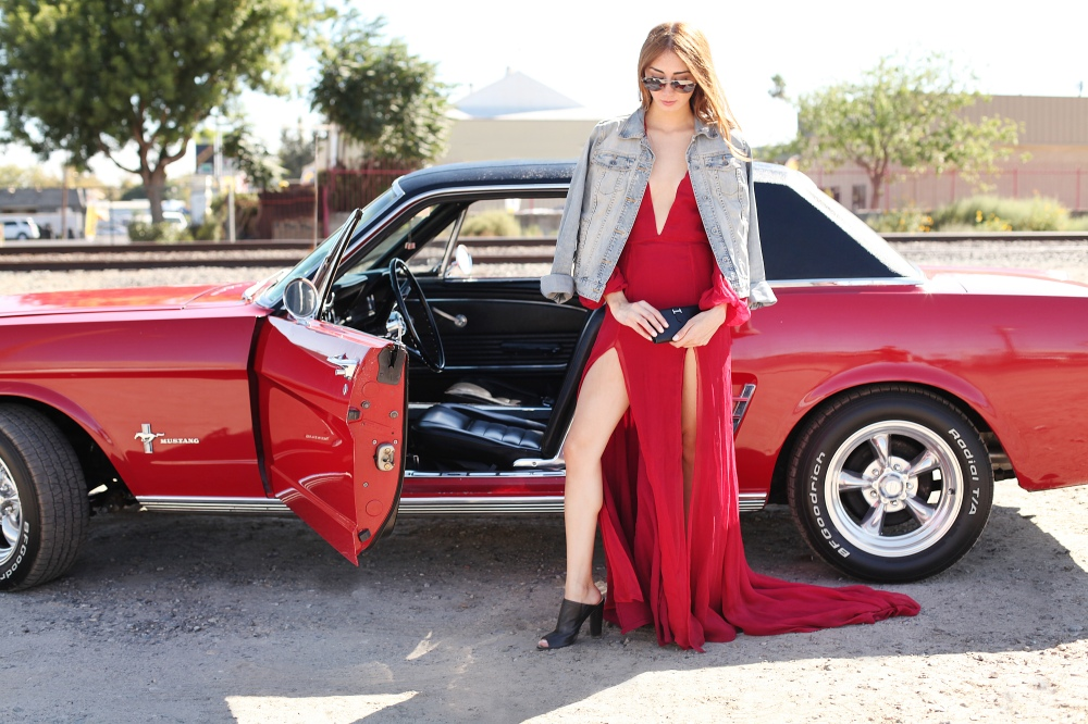 Fast and Furious in Alyssa Nicole Red Gown, Hermès Clutch, Michael Kors Aviator Sunglasses, Denim Jacket, Leather Mules