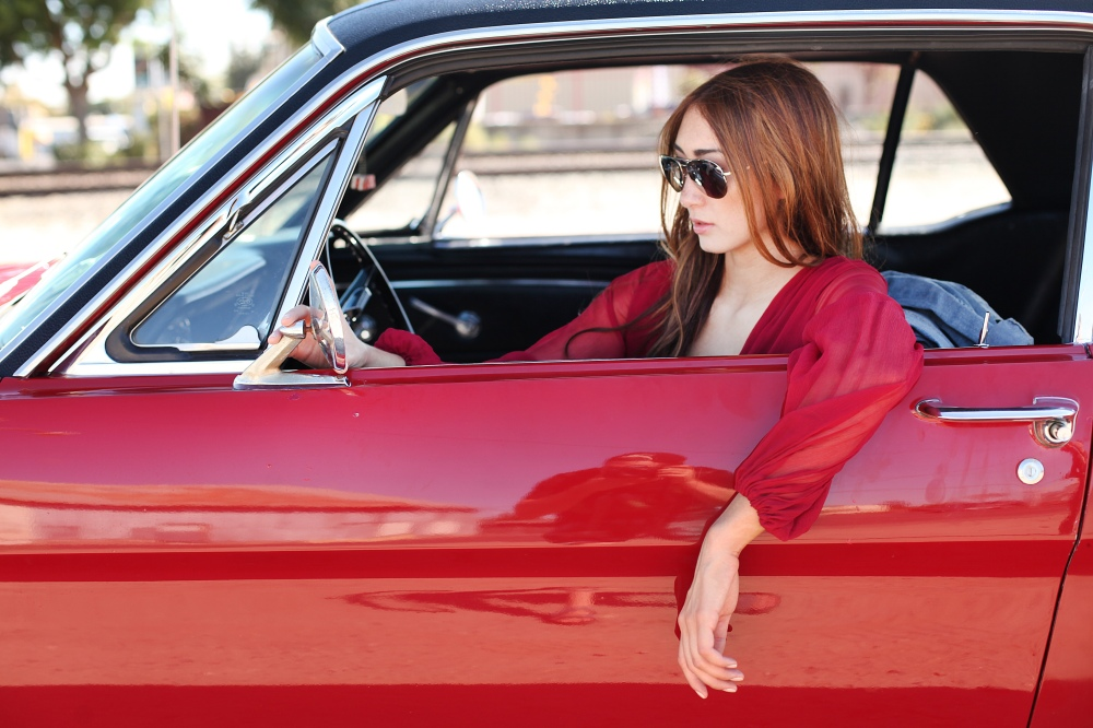 Fast and Furious in Alyssa Nicole Red Gown and Michael Kors Mirrored Aviator Sunglasses