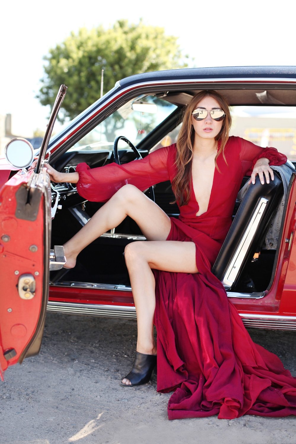 Fast and Furious in Alyssa Nicole Red Gown, Michael Kors Aviator Sunglasses and Leather Mules