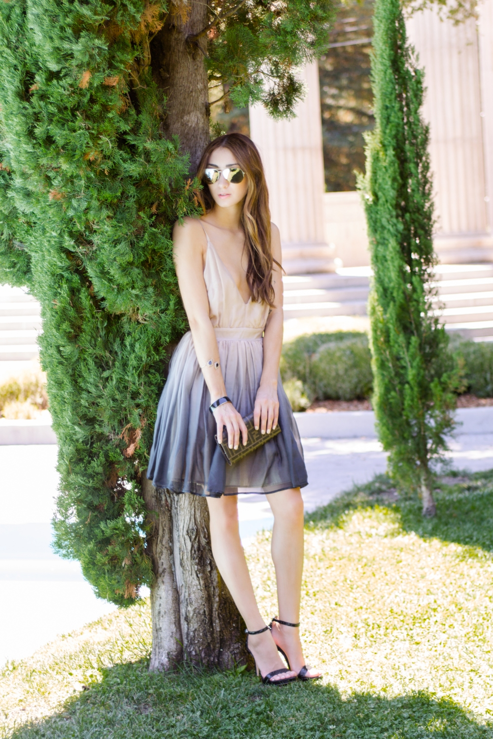 Alyssa Nicole Ombre Dress, Michael Kors Aviator Sunglasses, Fendi Clutch, Sam Edelman Heels