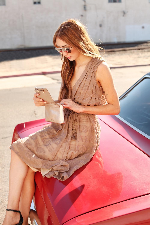 Alyssa Nicole Wrap Dress, Kate Spade Clutch, Michael Kors Mirrored Aviators