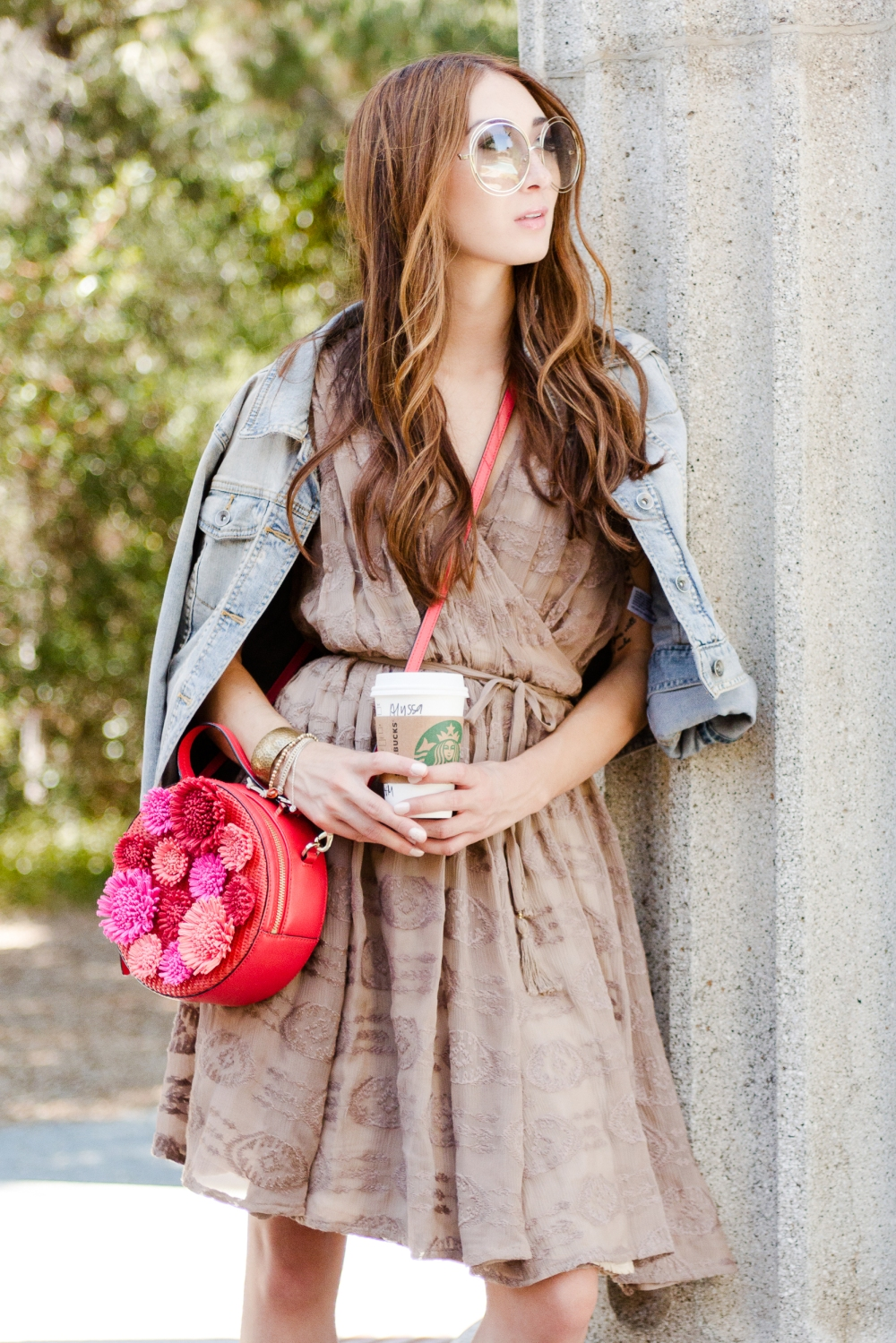 Fall Date Night Outfit in Alyssa Nicole Wrap Dress, Chloe Sunglasses, & Kate Spade Bag