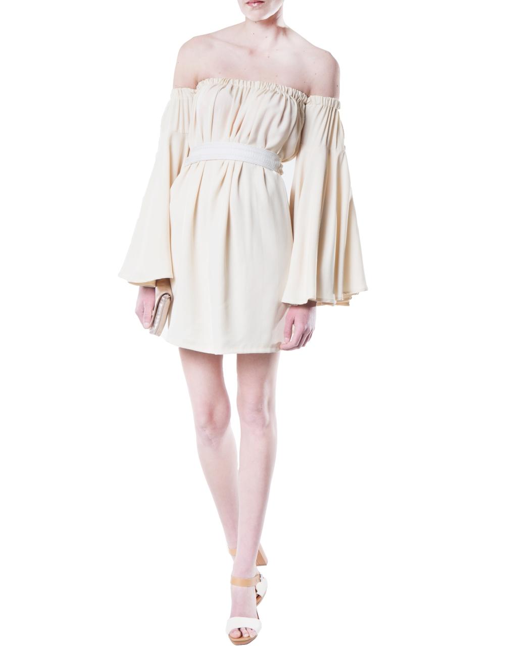 ANSP16105 Front Alyssa Nicole Elle Dress Creme