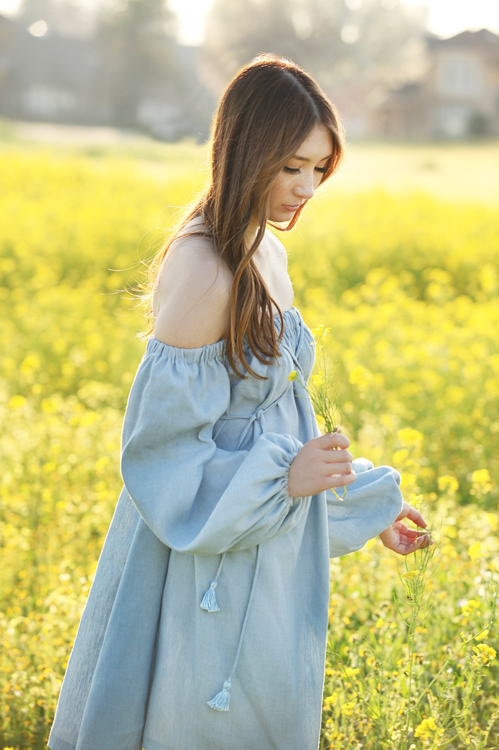 Flower Fields Alyss Nicole Chambray Off The Shoulder Dress 1