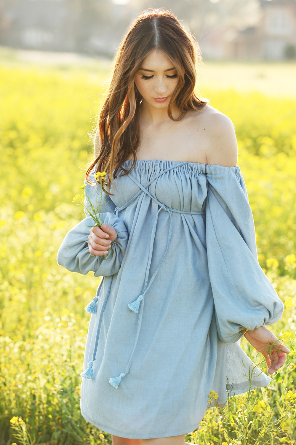 Flower Fields Alyss Nicole Chambray Off The Shoulder Dress 2