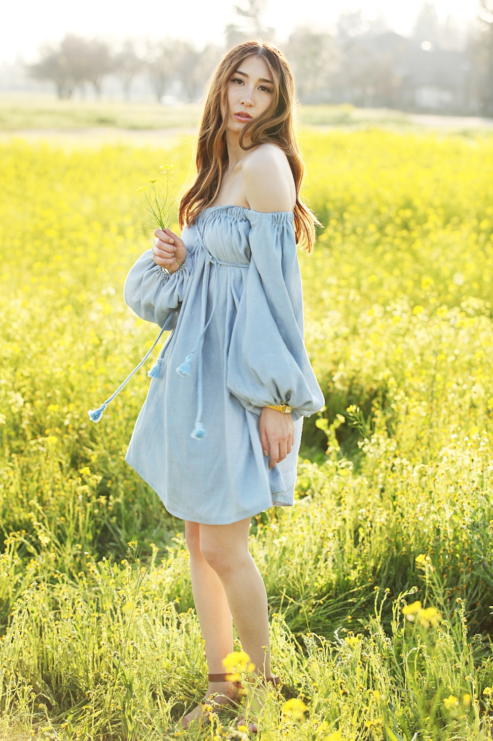 Flower Fields Alyss Nicole Chambray Off The Shoulder Dress 3