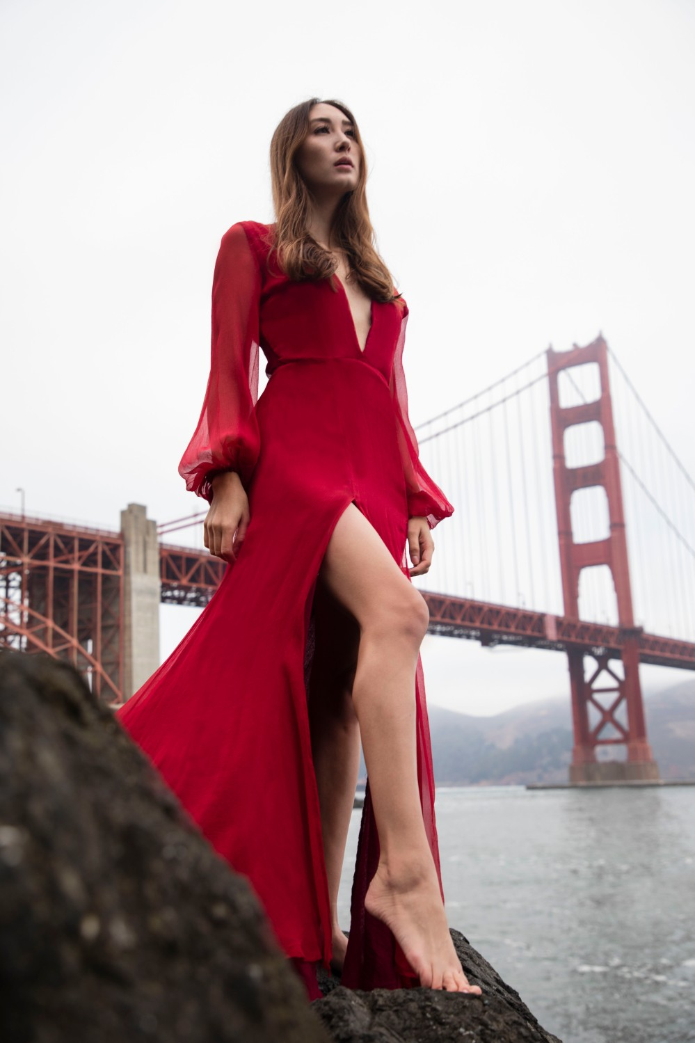 Alyssa Nicole Collection. Sustainable silk gown designed in San Francisco, California.